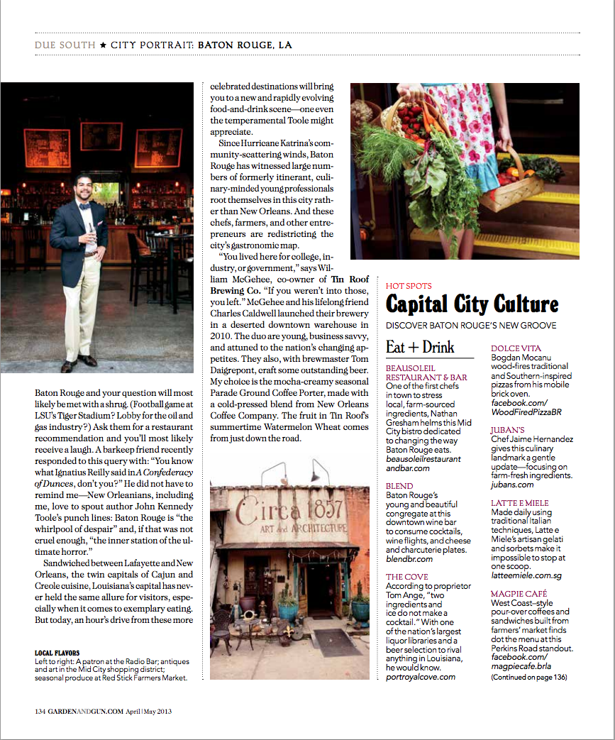 Baton Rouge Travel Feature for Garden & Gun