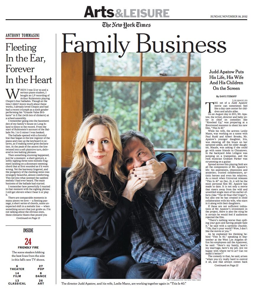 Leslie Mann and Judd Apatow for The New York Times