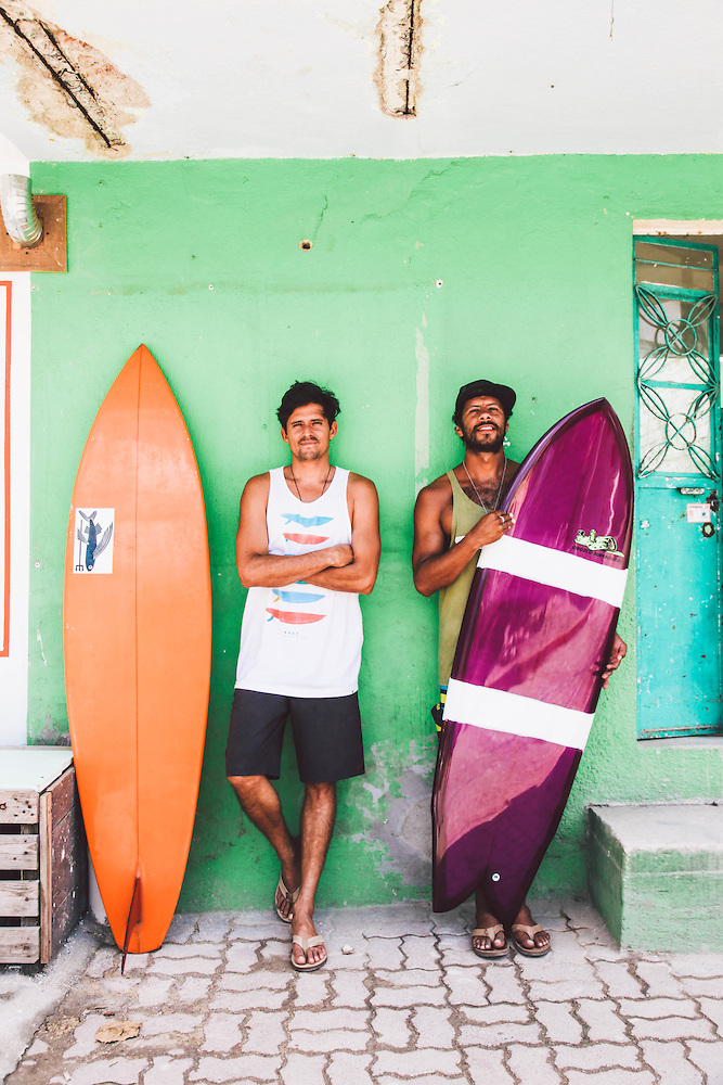 "Local surfers, Kalle Carranza and Hector ""Papas"" Gonzalez who own the surf shop, Sininen."