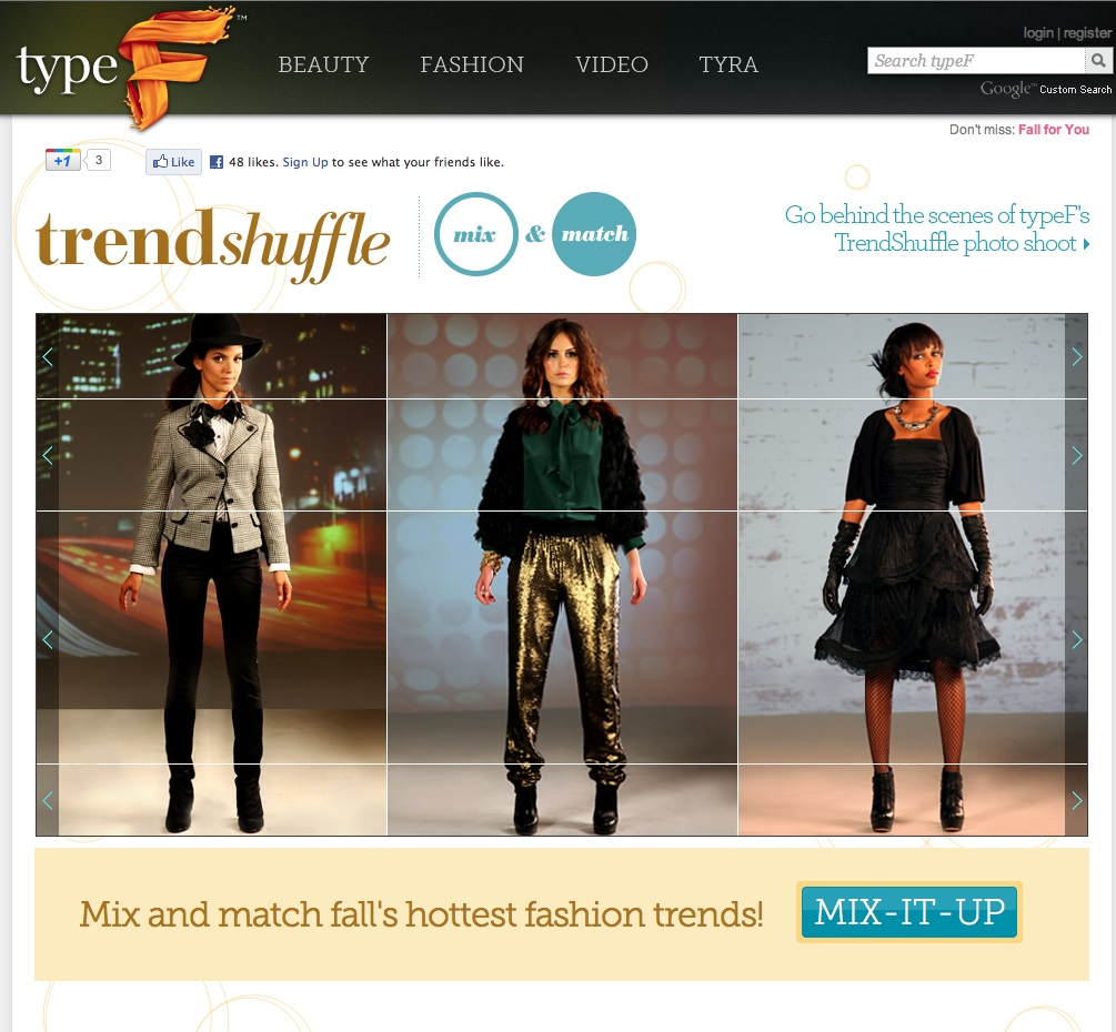 Fall Fashion for Type F a website by Tyra Banks